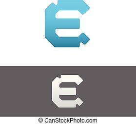 E Letter Alphabet Abstract vector text logo