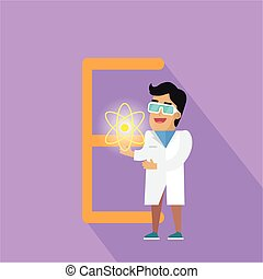E Letter and Scientist with Electric Field. - E letter and...