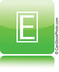 E letter icon on green glossy button