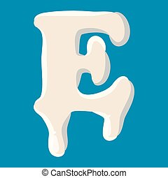 E letter isolated on baby blue background
