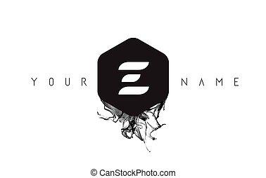 E Letter Logo Design with Black Ink Spill - E Black Ink...