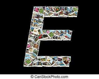 """E"" letter made like photo collage"