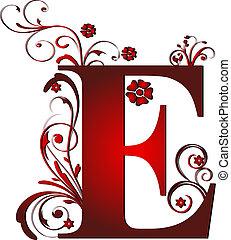 e, lettera, rosso, capitale