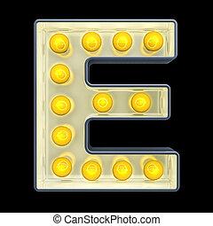 e, lettre, lumière, rendre, incandescent, retro, font., ampoule, 3d