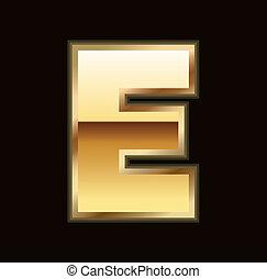 e, lettre, or