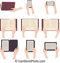 e-libro, testo, paperbook, tavoletta, telefono