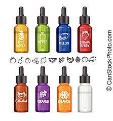 e-liquid, vetorial, coloridos, garrafa, set.