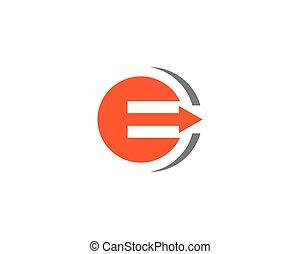 e, litera, handlowy, strzała, logo, szablon