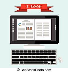 e-livre, computer., book., numérique