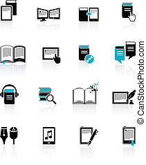e-livre, littérature, icônes, -, audiobook, 2