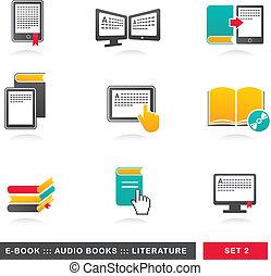 e-livre, littérature, icônes, -, audiobook, collection, 2