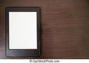 e-livro, leitor, ligado, tabela madeira, com, espaço cópia