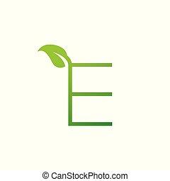 e, logo, blatt, brief, entwerfen elemente