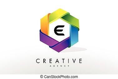 e, logo., design, brief, sechseck, korporativ