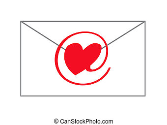 e-love message, object isolated, illustration, painting, ...