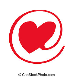 e-love sign, object isolated, illustration, painting,...