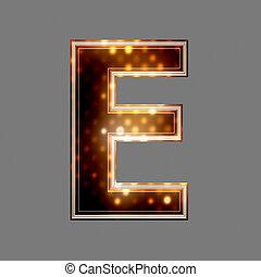 e, lumière, texture, incandescent, lettre, noël