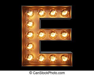 e, luz, carácter, alfabeto, bombilla, fuente