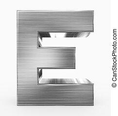 e, métal, 3d, isolé, lettre, cubique, blanc