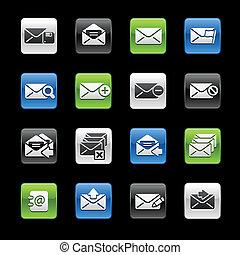 e-mail, ícones, --, gelbox, série