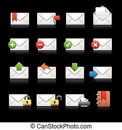e-mail, ícones, -, jogo, 2, --, pretas