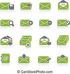 e-mail, ícones, --, natura, série