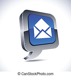 e-mail metallic 3d vibrant balloon icon.