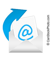 e-mail adress sign - blue and white e-mail adress over white...