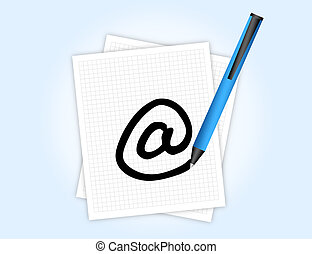 e-mail adress - white paper with blue pen drawing arroba...