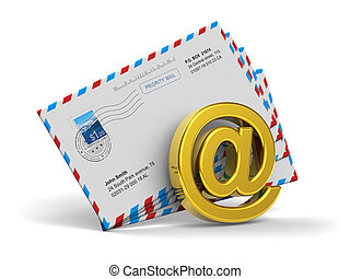 E-mail and internet messaging concept: group of post mail ...