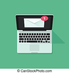 e-mail, benachrichtigung, auf, laptop, vektor, begriff, von, elektronische post, nachricht