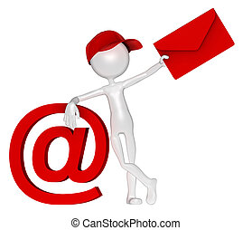 e-mail, briefkuvert, briefträger, zeichen