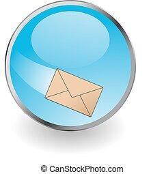 Editable vector glossy web button with metallic edge - E-mail
