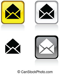e-mail button. - e-mail glossy square vibrant buttons. .