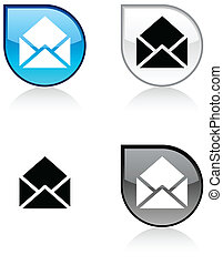 e-mail button. - e-mail glossy drop vibrant buttons.