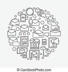 E-mail circular outline symbol
