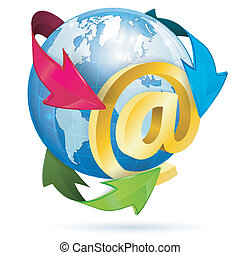 E-Mail Concept with At Sign, Earth and Arrows, vector icon...