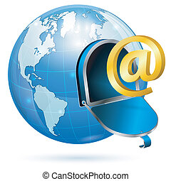 E-Mail Concept - E-Mail concept - Open Mailbox with At Sign...