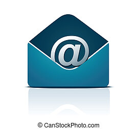 E-mail concept. Blue envelope with @ at symbol.