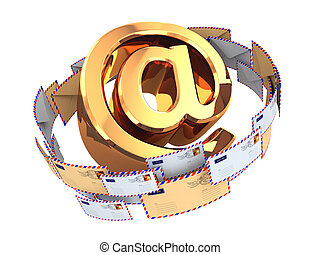 E-mail concept. Gold At symbol and envelopes isolated on white b