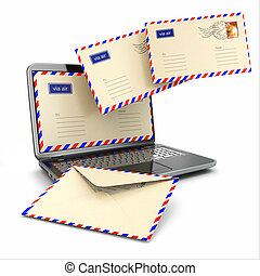 E-mail concept. Laptop and letters