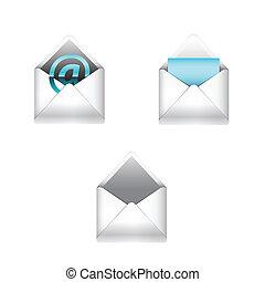 e-mail, conjunto, iconos