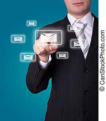 e-mail, drücken, mann, ikone