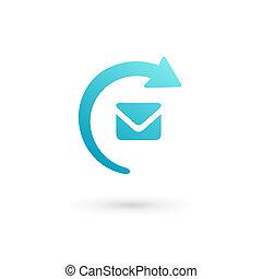 E-mail envelope arrow logo icon