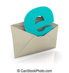 Envelope for e-mail with letter e popping out
