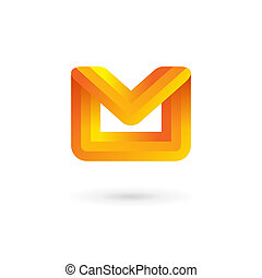 E-mail envelope letter M logo icon design template. Colorful...
