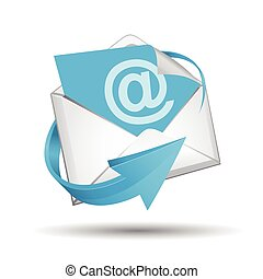 E-mail envelope with blue arrow