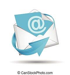 E-mail envelope with blue arrow