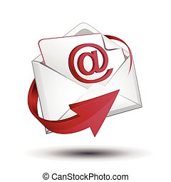 E-mail envelope with red arrow