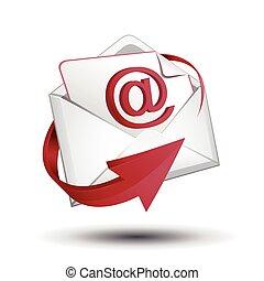 e-mail, enveloppe, flèche rouge